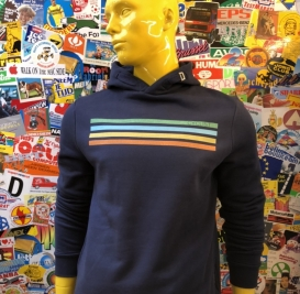 Cyclist Lines navy hooded sweater