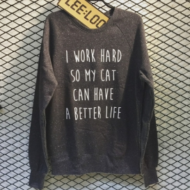 Work Hard Cat Crew Neck sweater