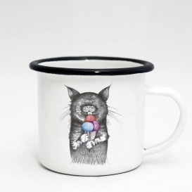 Cat Lick Emaille Coffee cup